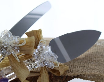 Shabby Chic Knife and Server Set/ Bridal Knife and Server Set