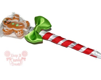Gingerbread Man Lollipop Pen, Lollipop Candy Pen, Christmas Favor, Party Favor, Stocking Stuffer, Gingerbread Man , Christmas
