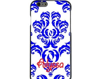 Hard Snap-On Case for Apple 5 5S SE 6 6S 7 Plus - CUSTOM Monogram - Any Colors - Blue White Damask Red Name