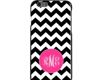 Hard Snap-On Case for Apple 5 5S SE 6 6S 7 Plus - CUSTOM Monogram - Any Colors - Black White Pink Chevron Stripes
