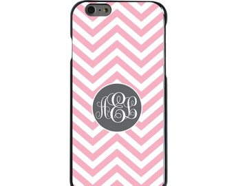 Hard Snap-On Case for Apple 5 5S SE 6 6S 7 Plus - CUSTOM Monogram - Any Colors - Pink White Grey Chevron Circle