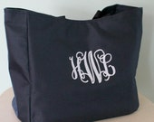 Monogram Tote Bag Wedding Party, Mothers Day, Birthday Gifts Custom Embroidery by Happily Ever After xoxo