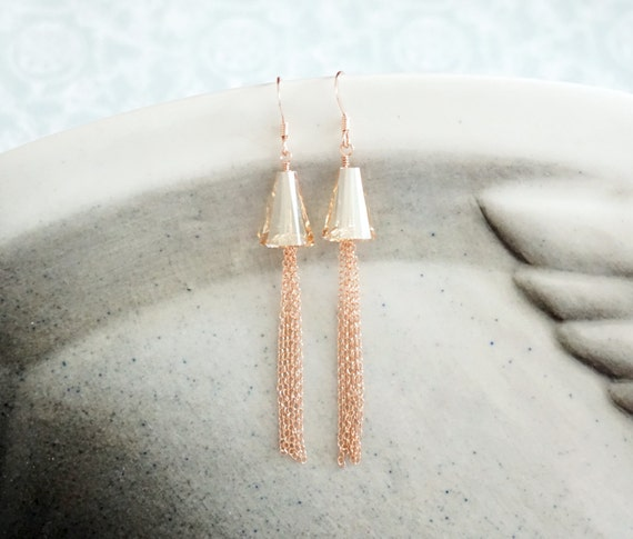 Rose Gold Earrings -rose gold filled, hand beaded, Swarovski gold shadwo crystal, love, quirky, chic, pink gold fashion, everyday pretty