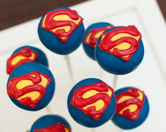 Superman Super Hero Birthday Cake Pops Candy Buffet