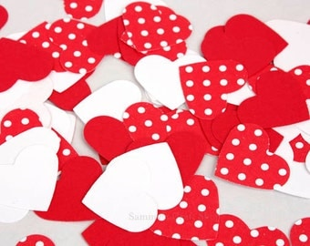 100 Red Heart Confetti, Red, White, & Red Polka Dots Valentine's Day Heart Confetti, Bridal Shower Decorations Baby Shower Party Supplies