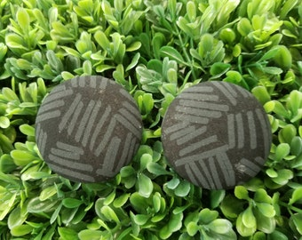 Black Patches- Handmade Fabric Button Earrings