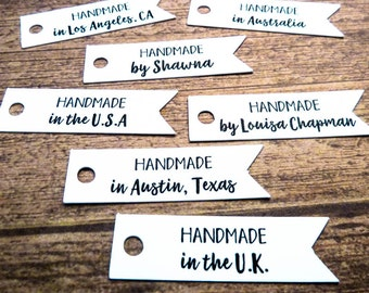 100 Personalized Tags - Gift Tag - Personalized Tag - Product Tags - 1.75 in - Branding Tags - Flag Tag - Custom Label - Handmade HM4