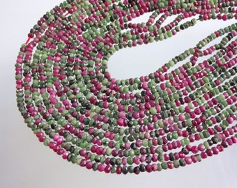 Pack of 5 strand Natural Ruby Zoasite micro faceted rondelle beads size 3-3.25mm GW1860