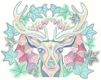 Stag Painting, Original, The Stag & the Foxgloves, Stag, Deer, Wildlife, Woodland, Gouache, UK Seller, Turquoise Eye