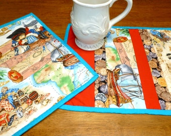 Pirate Mug Rugs, Snack Mats, Children Coasters, Cookie Time Rugs, Quilted Snack Coasters, child place mats, absorbant washable mug rugs