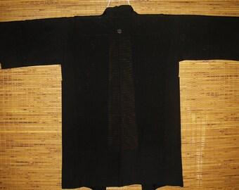 HAORI SILK Vintage Japanese Haori Mon Crest See Through SummerBlack Silk One Mon Haori Kimono Jacket Vintage Japanese Ro Silk Summer Haori