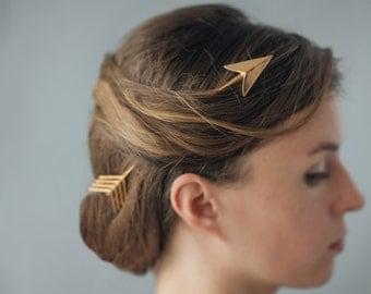 Broken Arrow Haircomb in Bronze- 3D printed Hair Accessory