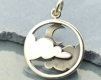 Sterling Silver Moon and Cloud Pendant