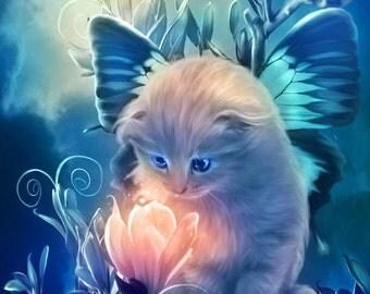 Fairy Kitten Cross Stitch Pattern - Cats, Fairies, Flowers, 14 ct. Aida