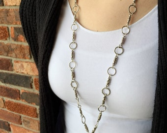 Simple and Sophisticated Silver Lanyard Necklace