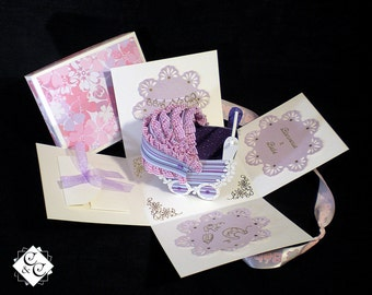 "Box , birth gift ""striped purple and pink pram"""