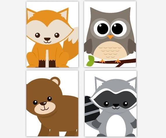Woodland Nursery Art Fox Owl Bear Raccoon Forest Animal Decor