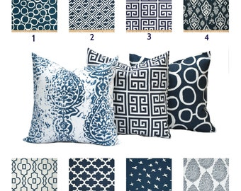 SALE!!! Choose any combinaton navy white pillow covers, cushion, decorative throw pillow, decorative pillow, accent pillow, pillow case