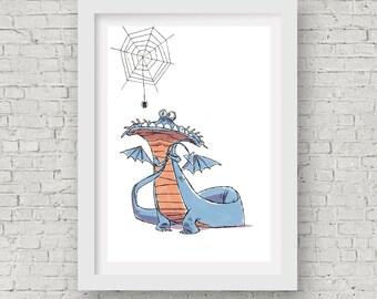 "Dragon Print / 5""x7"" Dragon Wall Art / Afraid of Spiders / Dragon Nursery"