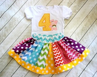 Care Bear birthday outfit Girls Cheer bear rainbow birthday outfit skirt set Carebear birthday party shirt and matching skirt Girl skirt set