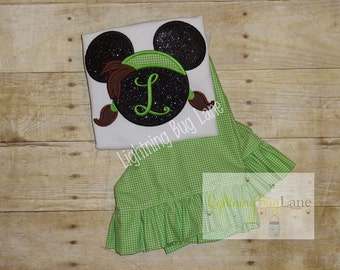 Pirate minnie mouse outfit Dsney Girls ruffle short outfit girl outfit Pirate Minnie Mouse shirt with lime green gingham ruffle shorts