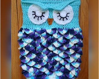 Crochet Baby Owl Cocoon with Hat Combo Baby Sack with Hat