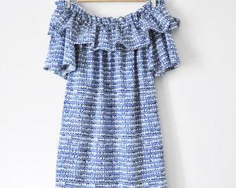 Indigo Sateen Print Off The Shoulder Ruffle Dress
