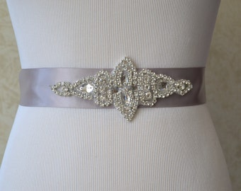 Silver Wedding Sash-Bridesmaid Sash Wedding Sash-Bridal Sash-Rhinestone Sash-Beaded Sash