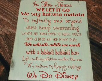 "Disney Sign, We Do Disney, In this house We Do Disney Wooden Plaque 11""x14"""