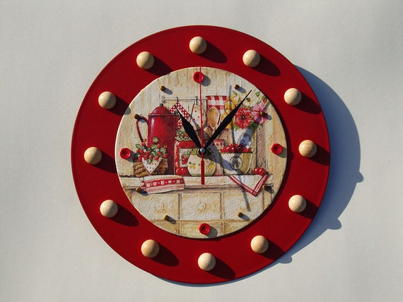 Red Wall Clock Kitchen Wall Clocks Modern Wall Clock Large