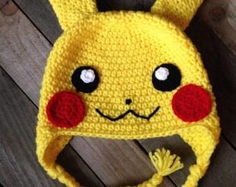 Pokemon Inspired- Crochet Pikachu Hat / Pokemon Hat / Winter Hat