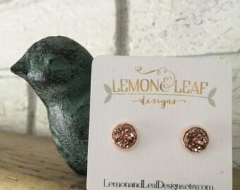 Rose Gold druzy studs, druzy earring, druzy jewelry, wedding party, bridesmaid gift, silver druzy, stocking stuffer