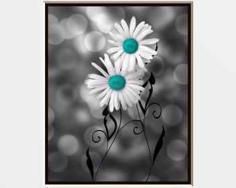 Teal Gray Daisy Flowers/Modern Floral Bathroom/Bedroom Wall Art Matted Picture