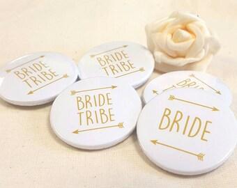 Heart Hen Do / Wedding / Team Bride / Bride Tribe Badge (A Set) Gold