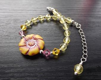 Yellow and Pink Czech Glass Flower Bracelet
