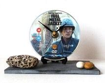 DVD Clock - Full Metal Jacket - Recycled DVD - CD Clock - Film Movie Clock - Desk Clock - Small Wall Clock