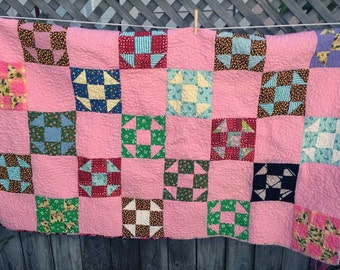 Pink Vintage Quilt -- Newly Finished--Cottage Chic