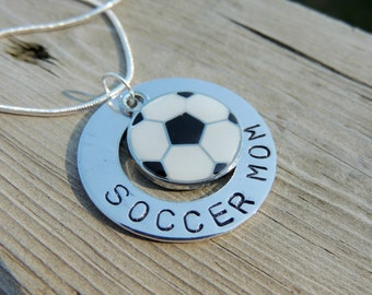 Hand Stamped Personalized SOCCER MOM necklace custom jewelry Sports jewelry team jewelry soccer necklace