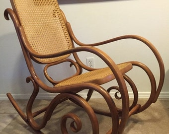 WAREHOUSE SALE 35% OFF Vintage Mid Century Thonet style Bentwood Rocker Rocking Chair- made in Poland