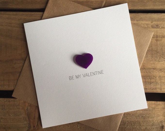 Featured listing image: Be my Valentine - Valentine's Day Card with Magnetic Love Heart Keepsake