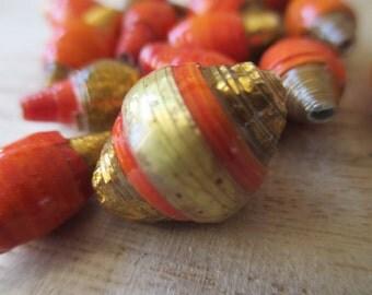 20mm Paper bead, gold paper bead, red paper bead,