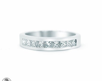 Princess Cut Ring, Half Eternity Anniversary Band, Channel Set Diamond Band, 9th Anniversary Band, Diamond Band, Wedding Band | LDR02346