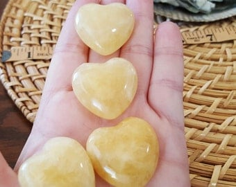 Yellow, Golden (Honey) Calcite Heart ~ One 30mm Reiki Infused Heart