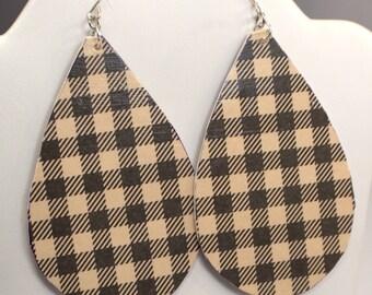 Plaid Earrings, Plaid Paper Earring Dangles, Large Ivory & Black Plaid Teardrop Earrings, Eco Friendly Vegan Free Form Drop Earrings (E469)