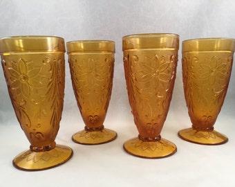 Set of 4 Tall Vintage Amber Indian Glasses , Milk Shake, Desserts, Embossed Floral and Scroll Design