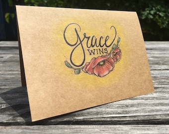 Grace Wins - Hand Drawn Greeting Card