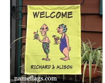 Personalized Swimsuit Couple Flag, Garden or House Flag, Swimsuit Couple Yellow Flag