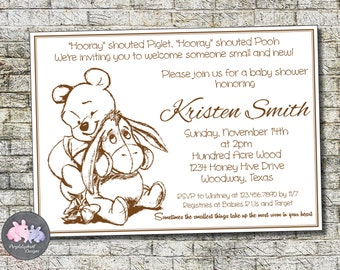 Pooh Bear Baby Shower Invitation, Winnie The Pooh Baby Shower Invitation  Baby Boy Or Baby