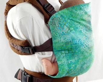 Aqua Batik Linen Full Buckle Baby Carrier, Summer Babywearing, Gender Neutral Baby Carrier, Linen Sling SSC,Brown Toddler Carrier,Back Carry