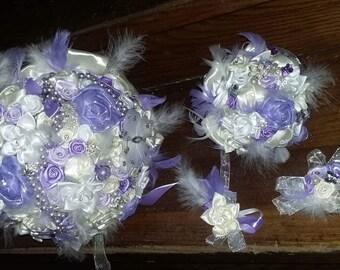 Wedding Bouquet set 4 pieces + accessories